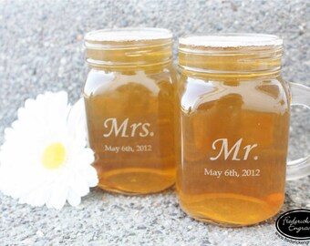 TWO Etched Mason Jar Drinking Mugs - Custom Engraved Drinking Glasses - His and Hers Mason Jar Mugs