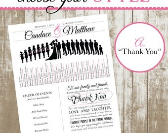 Custom Wedding Program with Bridal Party Silhouettes (Digital, Printable File)
