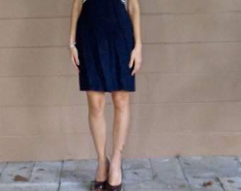 SALE Vintage Dress / Color Blocked  / Striped / Navy Blue and White / Medium / Large