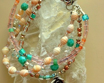 Multistrand Bracelet with Hill Tribe Silver Rose Charm, Sea Shells, Czech Glass Beads- Grateful Dead Rose Bracelet