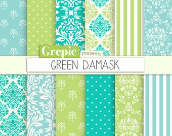 "Green damask digital paper: ""GREEN DAMASK"" with floral and classical green damask backgrounds and classical patterns"