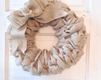 Burlap Wreath with Bow - Burlap Home Decor - Front Door - Burlap-Burlap Bow -Door Wreath-Housewarming Gift-Burlap Decor-Wreath-Burlap Wreath