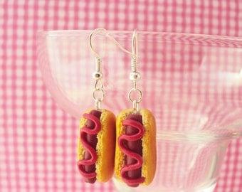 Hot Dog Bun Polymer Clay Earrings, Miniature Clay Dessert Food Jewelry, Hook Earrings