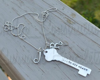 Hand Stamped Key - Necklace, Key Chain