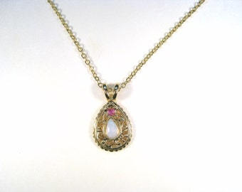 Gold-Plated, Opal & Ruby Pendant Necklace