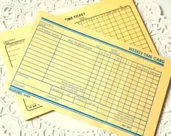 Vintage Time Cards. Time Cards. Vintage Ephemera. Junk Journal Paper. Vintage Journal. Journal Supply. Journal Ephemera. Planner Paper.