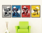 Retro Transformers Characters Set 4 Posters - Different sizes. Fan Art Optimus Prime Jazz Bumblebee Sideswipe