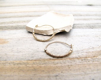 Small Gold Hoop Earrings For Women, Thin Gold Hoop Earrings, Wire Wrapped Jewelry, Small Gold Earrings For Women,