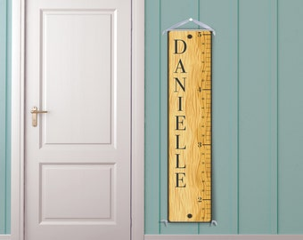 "Retro ""Wooden Ruler"" Inspired Personalized Canvas Growth Chart"