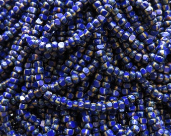 6/0 3 Cut Opaque Royal Blue White Stripe Picasso Firepolished Czech Glass Seed Bead Strand (DW149)