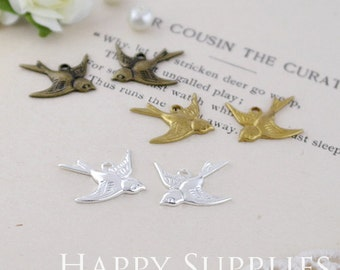 Last - 100 Pieces Nickel Free - High Quality Brass Bird Charms / Pendants with 1 Loop (ZZ131/ZZ123/ZG113)--Clearance Sale