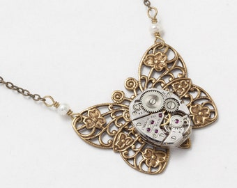Steampunk Butterfly Necklace Vintage Silver Watch Movement on Gold Flower Filigree Pendant Pearl Statement Necklace Steampunk Jewelry Gift