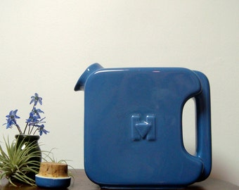 Hall China Hotpoint Pitcher Water Server Delphinium Blue 1940s with Stopper