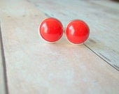 T O M A T O - Bright Cherry Tomato Red Color Cab, Silver Plated Stud Earrings, 12mm