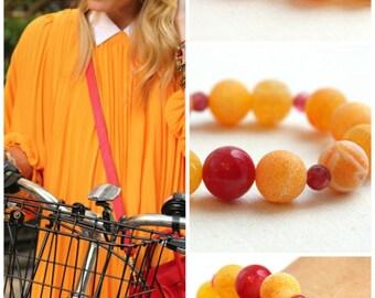 4th July Orange Agate Bracelet Red Ruby Bracelet Frosted Matte Stone Bracelet Statement Bracelet Colorful Gemstone Bracelet Large Stones