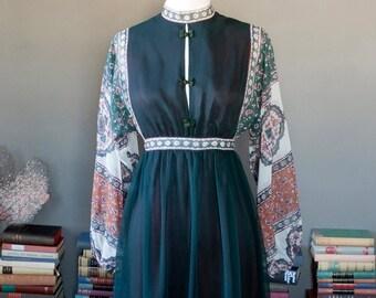 Vintage ethnic inspired bohemian PEASANT summer FESTIVAL blousy MAXI dress