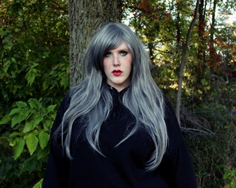 SALE Silver wig | Gray Straight Long wig | Halloween wig, Scene wig, Cosplay wig, Emo and Hipster | Grey Ghost