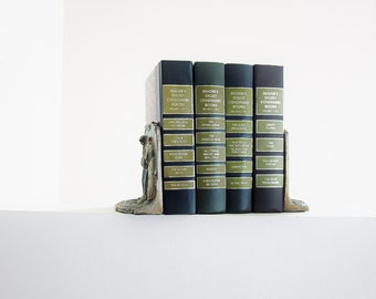 Vintage Green Book Collection - Home Library Decorating - Photo Prop - Wedding Decor - Moss Avocado Fern Sage - Woodland Color Book Set
