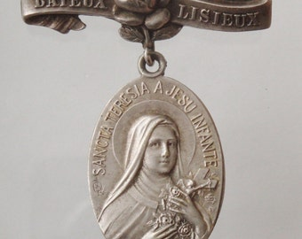 Saint Theresa on a Rose Vintage Jewelry Religious Medal Brooch