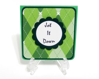 Green Argyle: Post-It Note Holder, Notepad, Back To School, Teachers Gift, Party Favors