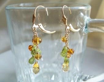 "Citrine briolette Peridot  1 7/8"" total 14k gold filled earrings leverback gemstone handmade item 56"