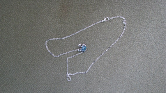 Lucky Blue Crab Necklace - Jeweled Blue Crab on 18in silver link chain