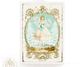 Fairy, card, Ballerina, Christmas card, make a wish, birthday card, lace wings, gold, cream, snow dome, snow, white, gold crown