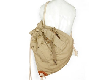 Cinch Sack Drawstring Upcycled Recycled Khaki Backpack Army Cinch Sack