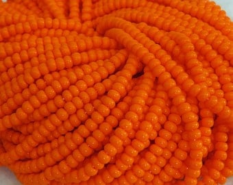 6/0 Opaque Orange Czech Glass Seed Bead Strand (CW106)