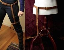 Steampunk Leg Harness and Belt, Leather adjustable garter/ holster &  belt Caramel brown, black, or charcoal leather/ antique or shiny brass