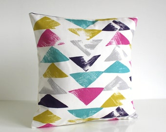 Decorative Pillow Cover, Triangle Pillow Sham, Colourful Cushion Cover, Pink Pillowcase, Purple, Turquoise - Pop Triangle Zest