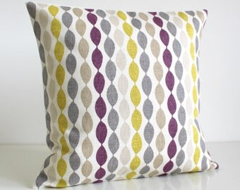 Purple and Citrus Pillow Cover, Decorative Pillow Cover, Cushion Cover, Pillow Sham, Pillowcase - Gemstone Aubergine