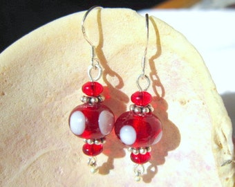 Red Earrings, Red Glass Lampwork Beads   ID 307