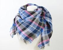 Blue Black Pink Checked Linen Tassel Scarf, Tartan Scarf