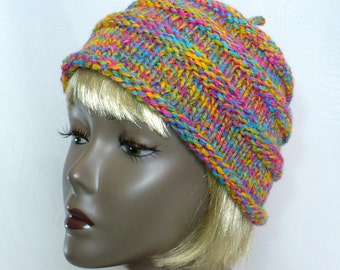 Hand Knit Rainbow Beanie: Colorful Rolled Brim Hat, Woman's or Girl's Beehive Hat, Handmade in the USA, Ready to Ship