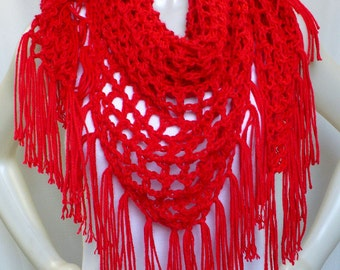 Red Shawl with Fringe - Crochet Shawl, Woman's Triangle Shawl, Boho Style, Handmade in the USA, Ready to Ship