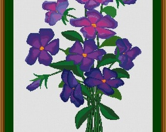 Purple Wild Flowers Counted Cross Stitch Pattern in PDF for Instant Download