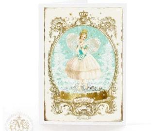 Fairy card, Ballerina card, Fairy birthday card, Fairy Christmas card, make a wish, Christmas fairy, fairy holiday card, card for her