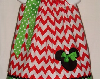 Minnie Mouse Pillowcase Dress / Disney / Character / Red Chevron / Christmas / Infant / Baby / Girl / Toddler / Custom Boutique Clothing