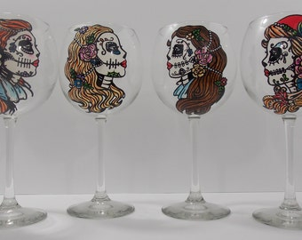 16 oz. clear wine glass with hand painted sugar skull girl