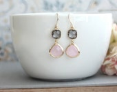 Pink and Grey Earrings. Pink Opal Ice Pink, Gold Framed Gray Glass Dangle Earrings. Wedding, Bridal Bridesmaids Gift. Pink and Grey Wedding.
