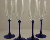 """Wine Glass 6 fl. oz.Cobalt Stem Fluted Bowl Stands 7 3/4"""""""