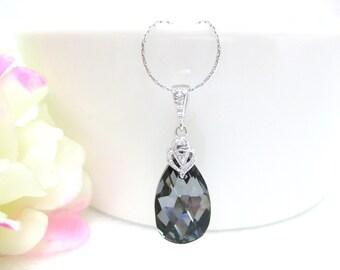 Silver Night Black Necklace Swarovski Crystal Teardrop Necklace Wedding Jewelry Bridesmaid Gift Bridal Necklace Dark Grey Jewelry (N002)
