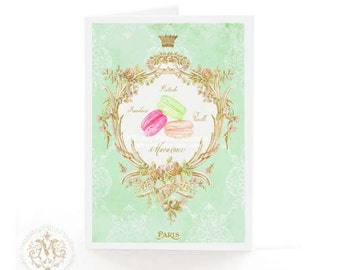 French, Macarons, greeting card, birthday card, mint green, gold crown, Marie Antoinette card, Patisserie, Paris, French vintage, cake card