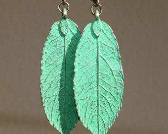 Green Earrings Leaf Patina Earrings Dangle Boho earrings Bohemian Jewelry Earrings Lightweight Gift For Her Gift Ideas