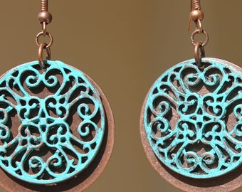 Copper Earrings Turquoise Earrings Boho Earrings Bohemian Earrings Dangle Boho Jewelry  Patina Earrings Gift Ideas Gift For Her