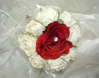 Very Pretty Artificial Flower Girls Wedding Bouquet in Ivory Rose Buds and Red Rose with Diamante Detail, Organza Collar and Satin Ribbon