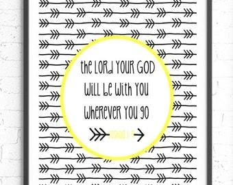 Joshua 1:9 Wall Art, Scripture Art, The Lord Your God Bible Verse Wall Art, Religious Gift, Inspirational Print, Religious Nursery Art