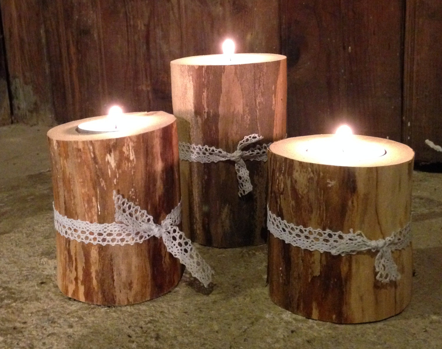 Unavailable listing on etsy for Rustic wood candle holders