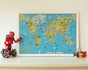 Kids Cartoon Map Of The World - wall map, map poster, kids map, bedroom, push pin map, cartoon map, wall map, wall hanging, Free Shipping